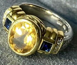Judith Ripka Sterling 18K Yellow Gold Diamond Rhodolite Garnet Citrine Ring Sz 5