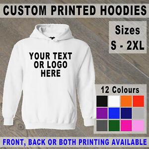 Custom Printed Hoodie Unisex Personalised Event Hoody Logo Workwear Glitter Name