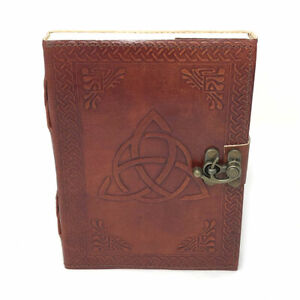 Leather Triquetra Journal with Latch NEW Handmade Embossed Journal Blank Book