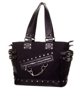 Banned Gothic Handcuff Punk Uni School Shoulder Bag Strong Canvas PU Handbag