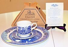 Genuine Staffordshire Churchill Blue Willow 3 PC Dinner Plate, Cup & Saucer Set