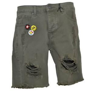 Pantoloni corti short uomo bermuda in jeans verde militare con stemmi e spille