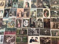 Estate Lot of 54~Love~Romance Romantic~Vintage Antique~Postcards-Men Ladies-g202