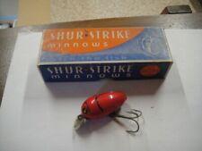 Vintage Shur Strike Wooden Fishing Lure in Original Box Red Beetle Hr-8 Hr8