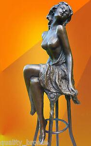 ART DECO, BRONZE Michelle SIGNED BRONZE STATUE FIGURE FIGURINE NAKED STATUETTE