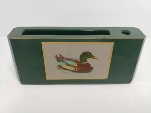 Otagiri Lacquerware Desk Holder for Paper and Pen Green Gold Trim Mallard Duck