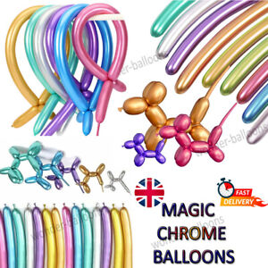 260q Chrome Latex Modelling Balloons Solid Colour Shine Party Magic ShapeTrik UK