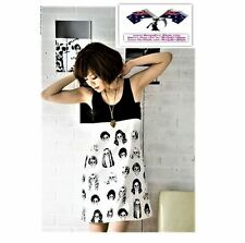 B7 Cute 2 tone Punk Rock Goth Skull Print Tunic Fashion Girls Ladies S Top/Dress