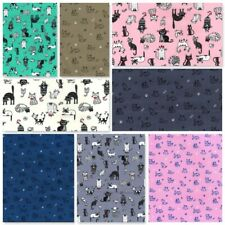 ROSE & HUBBLE 100% COTTON POPLIN FABRIC SOFT FELINE CAT DOG PAW BONE DRESSMAKING