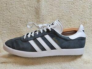 Adidas Gazelle mens trainers Leather Grey/White UK 10 EUR 45 US 10.5