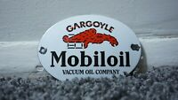 VINTAGE MOBILOIL PORCELAIN SIGN GAS METAL STATION PUMP PLATE OIL GASOLINE MOBIL