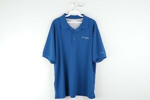 Columbia PFG Mens Large Stitched Spell Out Vented Fishing Polo Golf Shirt Blue