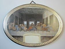 "The Last Supper Icon Picture on Wood Oval 5 3/4"" Made in Italy"