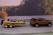 FORD EXPLORER + BASS FISHING BOAT + TRAILER 1/64 COLLECTIBLE MODELS - DIORAMA