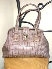 Liz Claiborne Hand Bag Tote Mock Crock Patent Beige Mushroom