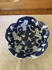Japan Blue & White Porcelain Floral Bowl 6� Diameter Collectible Dish Oriental