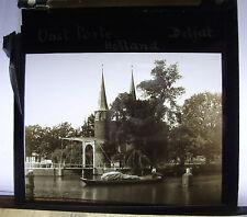 c1900s ~ DELFT Canal OOST PORTE & Spires ~ HOLLANDGlass Lantern Photo Slide