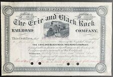 ERIE & BLACK ROCK RAILROAD CO Stock 1896. Buffalo, NY. Branch Erie RR. Cert. #41