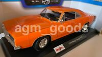 Maisto 1:18 Scale - Dodge Charger RT 1969 - Orange - Diecast Model Car