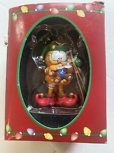 1996 PAWS Garfield 's Trim-A-Tree Ornament GARFIELD ELF HOLDING TEDDY BEAR +Box