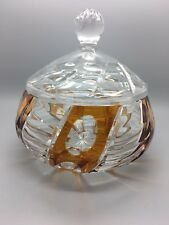 """Large Vintage Cut to clear Crystal glass lidded bowl with amber panels 5 1/2"""" d"""