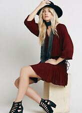 NEW Free People wine Drapy Drop Waist Smocked w/ Ties Swing Hem Tunic Dress S