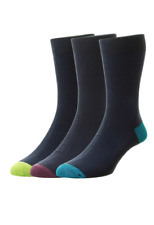 HJ Hall Contrast Heel & Toe Socks/Navy Mix - 6 PAIRS (6/11)