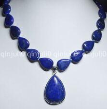 "Natural Blue Lapis Lazuli Gemstone Teardrop Beads Pendant Necklace 18"" JN554"