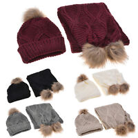 Women Knitted Beanie Wooly Scarf Winter 2pcs Set Ladies Woollen Warm Hat Ski Cap