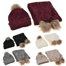 Womens Ladies Woolly Thick Knitted Hat and Scarf Pom Pom Beanie Winter Warm Cap