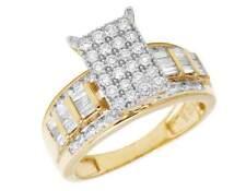 Ladies 10K Yellow Gold Real Baguette Diamond Cinderella Engagement Ring 1.6CT