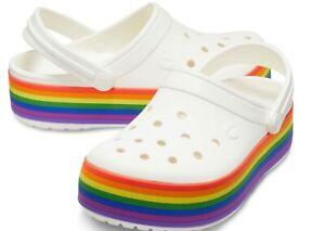 Women's CROCS Crocband White Rainbow PLATFORM  Clog Sandal Shoe