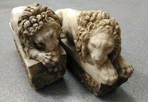 """Coppia di leoni """"dal Canova"""" - Il vegliante ed il dormiente - Faux marble"""
