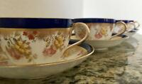 Stunning AYNSLEY Cobalt Blue Floral 4 Tea Cups & Saucers - FREE SHIPPING!!!