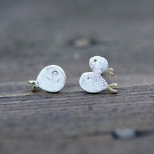 Three Little Fish Small Stud Earrings Sterling Silver and Gold , lucky fish