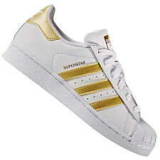 adidas Originals Superstar J Kinder-Sneaker Weiß/Gold Damen-Turnschuhe Schuhe