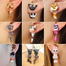 Women 3D Cartoon Animal Fox Cat Polymer Clay Ear Stud Earrings Jewelry Latest