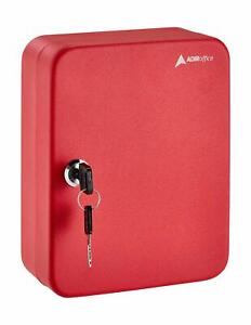 AdirOffice Red Steel 30 Key Mountable Secure Home Auto Storage Key Cabinet