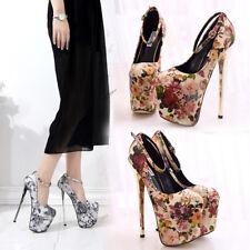 Flowery Ankle Strap Mens Heels Vintage Gold Crossdresser Women Shoes Plus Size