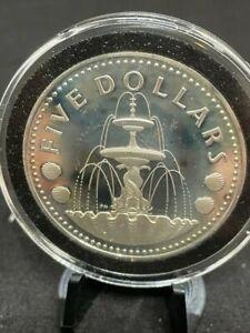1973 BARBADOS 5 DOLLARS SILVER COIN UNC PROOF