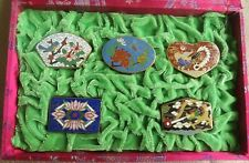 Five Exquisite Small Chinese Cloisonne Boxes In Red Silk Box