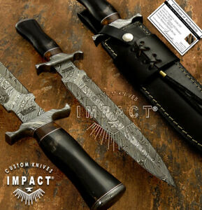 IMPACT CUTLERY RARE CUSTOM DAMASCUS DAGGER KNIFE BULL HORN HANDLE