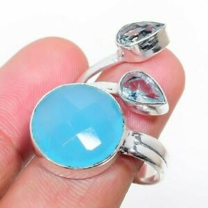 Blue Chalcedony, White Topaz 925 Sterling Silver Jewelry Ring Size 7.5