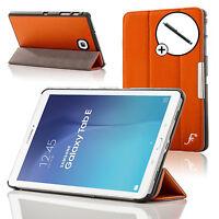 Leather Orange Folding Case Cover Folio Samsung Galaxy Tab E 9.6 T560 + Stylus