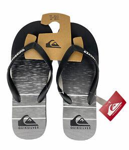 NEW Quicksilver Java Slab Momentum Mens Sandals Flip Flops Gray Black NWT