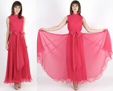 Vintage 60s Magenta Chiffon Dress Grecian Wedding Cocktail Party Pleated Maxi M