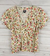 Worth Pinch Pleat Shirt Top Size 12 Cream Multi Color Floral Cap Sleeve