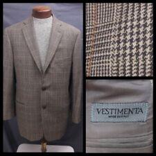 Vestimenta Sport Coat Jacket Brown Glen Plaid Tweed Blazer Wool EU 52 US 42