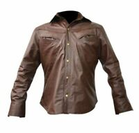 Men's Guy Long Sleeves Real Leather Shirt with front Chest Pockets Collared Line