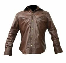 Men's Guy Long Sleeves Real Leather Shirt with front Chest Pockets Lederhemd Gay